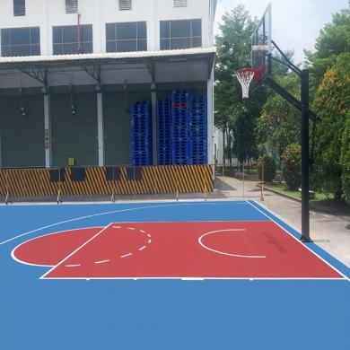 sơn lại sân bóng rổ với 2 lớp sơn cao su novasports usa