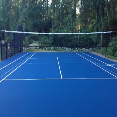sơn sân bóng chuyền với 6 lớp cao su nền nhựa với sơn novasports usa